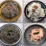 Pates de formatge, de salmó, d'oliva negra i de bolets
